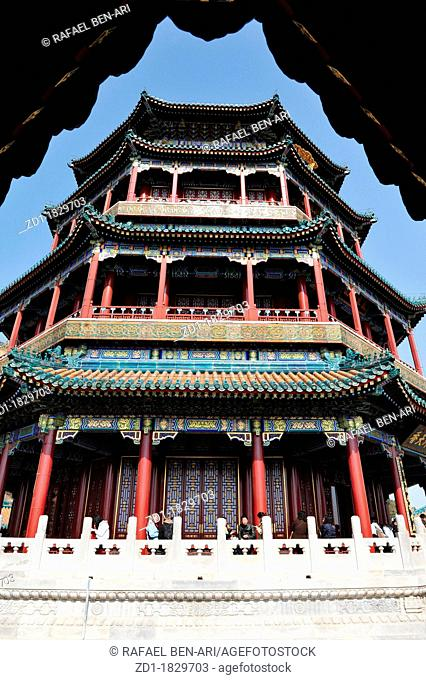 The Octagon Tower on the Longevity Hill at the Summer Palace, Beijing, China