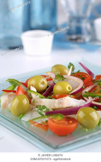 Shredded salt cod salad with manzanilla olives