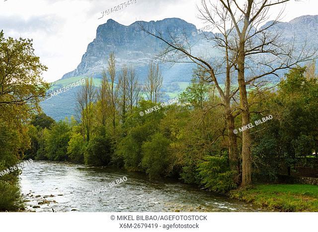 Ason river and San Vicente peak. Ramales de la Victoria. Cantabria, Spain