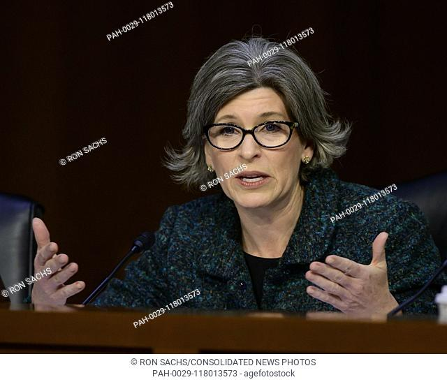 United States Senator Joni Ernst (Republican of Iowa) questions witnesses during testimony before the US Senate Committee on Armed Services during a hearing on...
