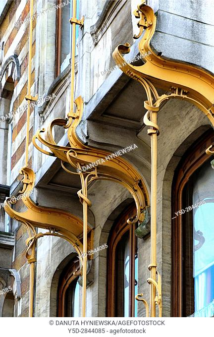 architectural detail - Art Nouveau Victor Horta's own house and atelier designed in late 1890s, together with three other town houses - Hotel Solvay