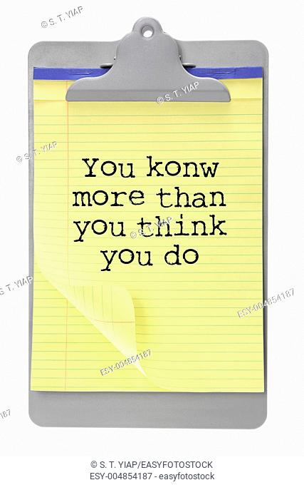 Clip Board with Motivation Message on White Background