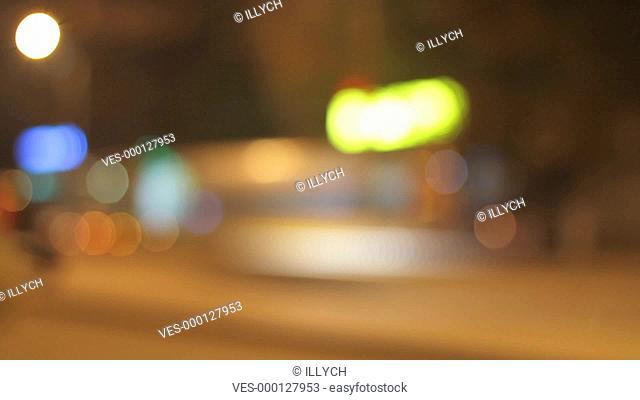 defocused blinking of night city