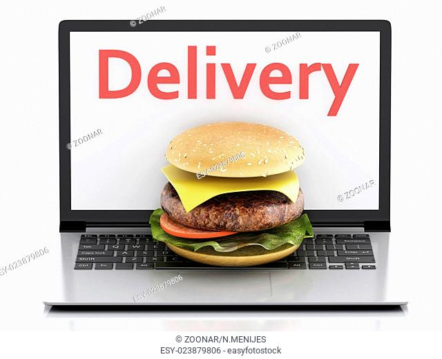 3d laptop. Online and Internet food delivery conce