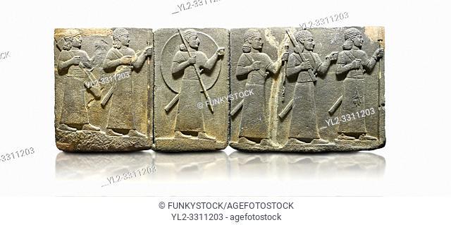 Hittite relief sculpted orthostat stone panel of Royal Buttress Basalt, Karkamıs, (Kargamıs), Carchemish (Karkemish), 900-700 B. C. Warriors