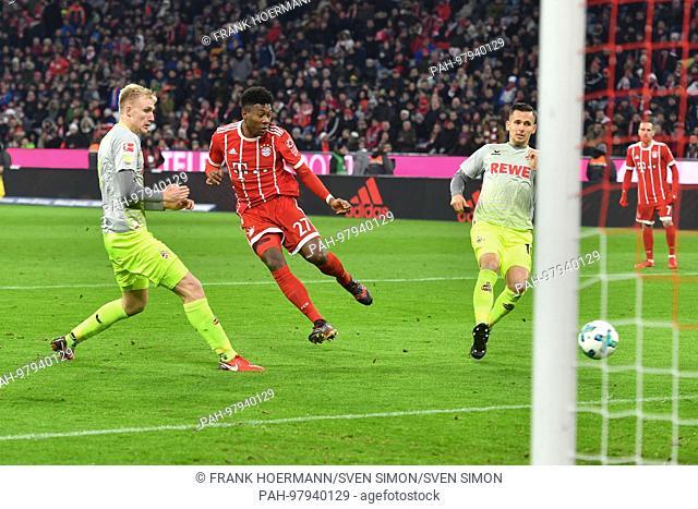 goalchance David ALABA (FC Bayern Munich),Aktion,Schuss,Strafraumszene,li: Frederik SOERENSEN (1.FC Cologne),re:Pawel OLKOWSKI (1.FC Cologne)