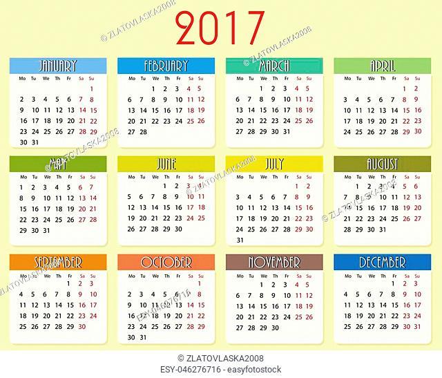 Simple vector calendar of 2017 year in vector, eps10