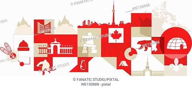 Illustrative collage of Canadian lifestyle over white background