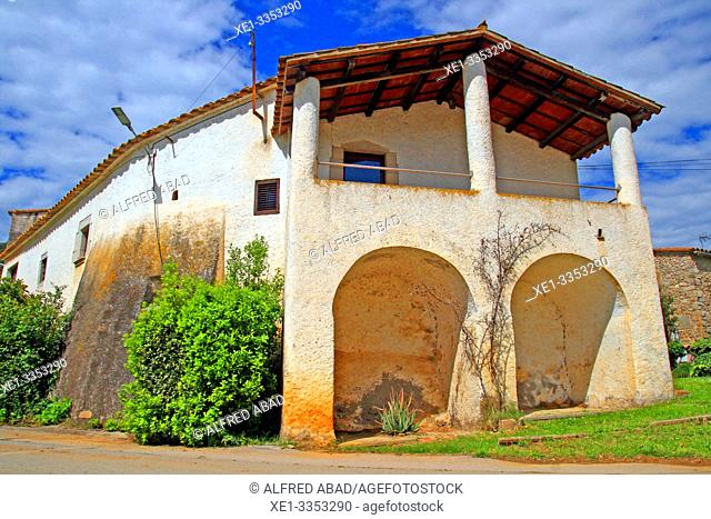 Cal Sagrista, traditional housing, neighborhood of the Church, Sant Gregori, Vall de Llémena, Girona, Catalonia, Spain
