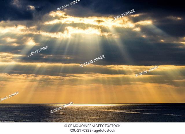 Crepuscular rays, or Jacobs Ladder over Bideford Bay off the North Devon Coast near Westward Ho!, England