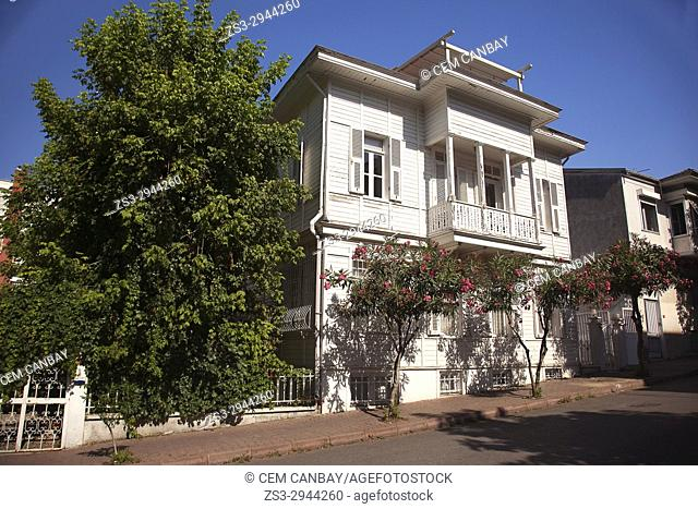 Traditional wooden house in Buyukada-Prinkipos, the largest of the Prince Islands, Marmara Sea, Istanbul, Turkey, Europe
