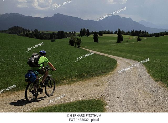 Rear view of man riding bicycle on road amidst grassy field against sky