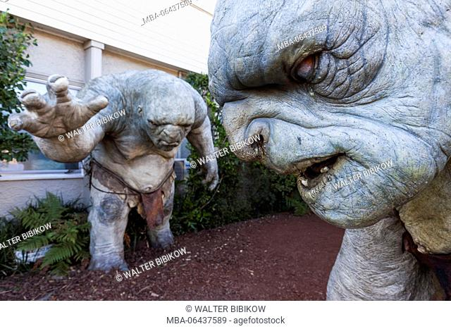 New Zealand, North Island, Wellington, Miramar area, Weta Cave, famed movie special effects company, cave troll statue