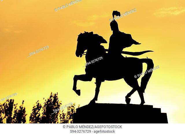 Equestrian sculpture of Manas in Bishkek center, Kyrgyzstan