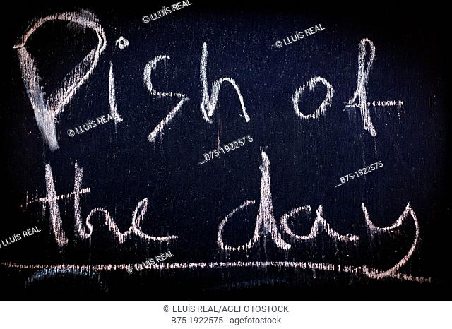 Dish of the day, restaurant blackboard in England, UK