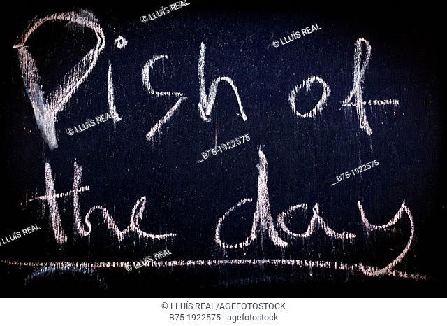 Dish of the day, restaurant blackboard in England, UK
