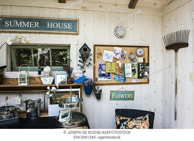 The interior of a clean and organized garden shed