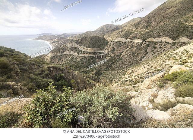 Scenery in Cabo de Gata natural park Almeria Andalusia, Spain Granatilla outlook