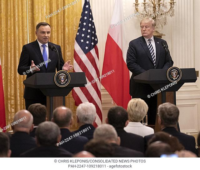 United States President Donald J. Trump and the President of the Republic of Poland Andrzej Duda hold a news conference at The White House in Washington, DC