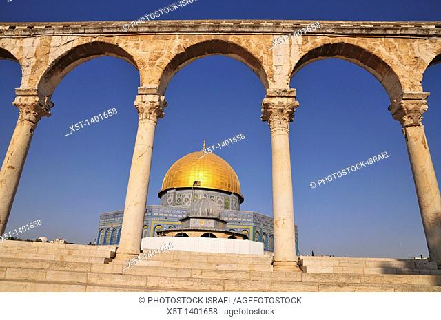 Israel, Jerusalem Old City, Dome of the Rock on Haram esh Sharif Temple Mount a Qanatir The Arch in the foreground