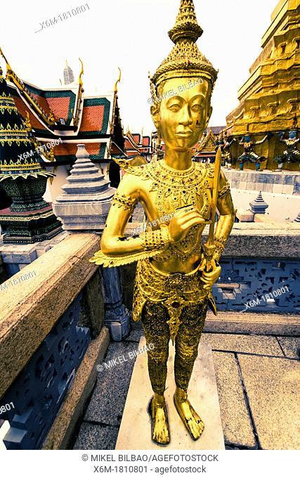 Statue of a kinnara  Wat Phra Kaew or Temple of the Emerald Buddha  Grand Palace  Bangkok, Thailand