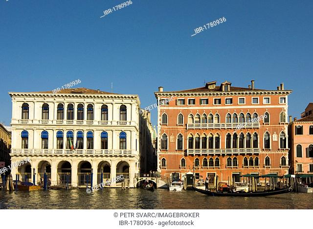 Classicist Palazzo Manin-Dolfin, built in 1538-40 by Jacopo Sansovino, currently used by Bank of Italy, and 15th century Gothic Bembo Palace in San Marco...