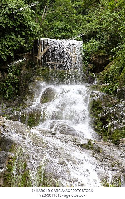 Azufrada waterfall in rain forest near La Plata, Colombia