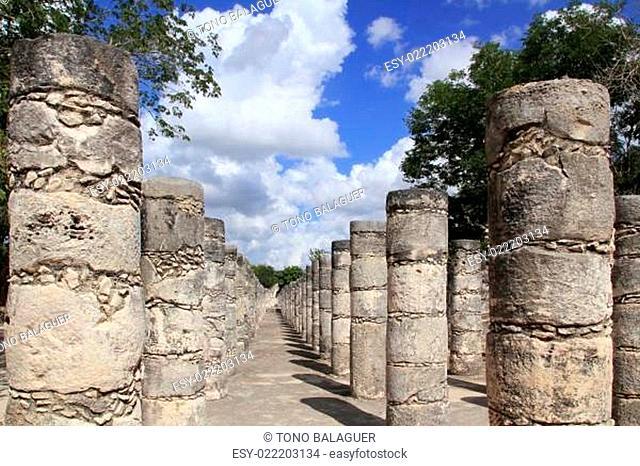 Columns Mayan Chichen Itza Mexico ruins in rows