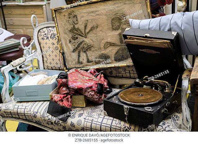 Madrid, Spain, 12 st June 2016. A wall street view with decoration items in DecorAccion Market, Letters Quarter, Madrid, Spain