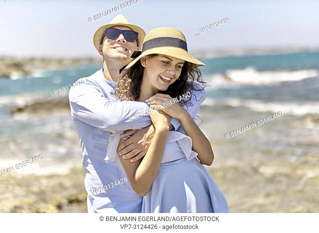 couple at beach, holidays, summer, love, flirt