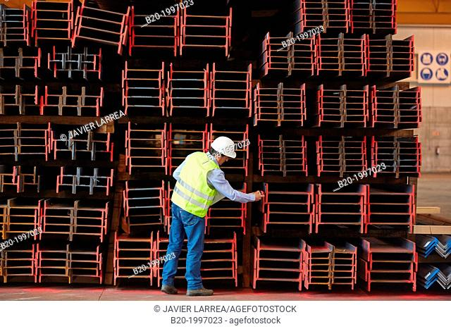 Steel Girders, Siderurgical products, Port warehouse, Pasajes Port, Gipuzkoa, Basque Country, Spain