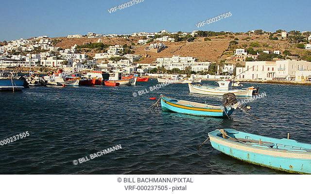 Mykonos Greece center of island with water and boats and white buildings downtown at Platis Gialos