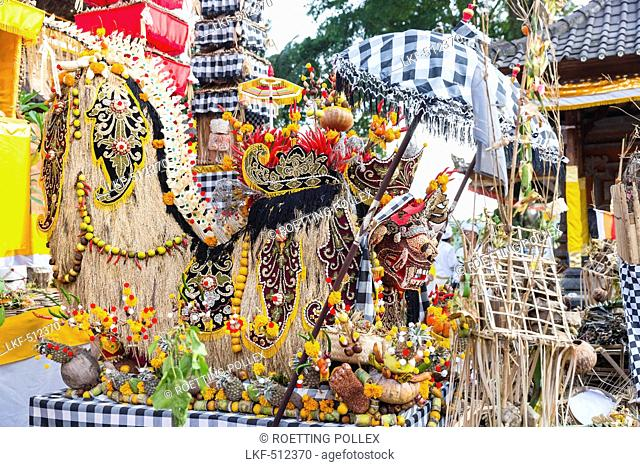 Barong and offerings, Odalan temple festival, Sidemen, Bali, Indonesia