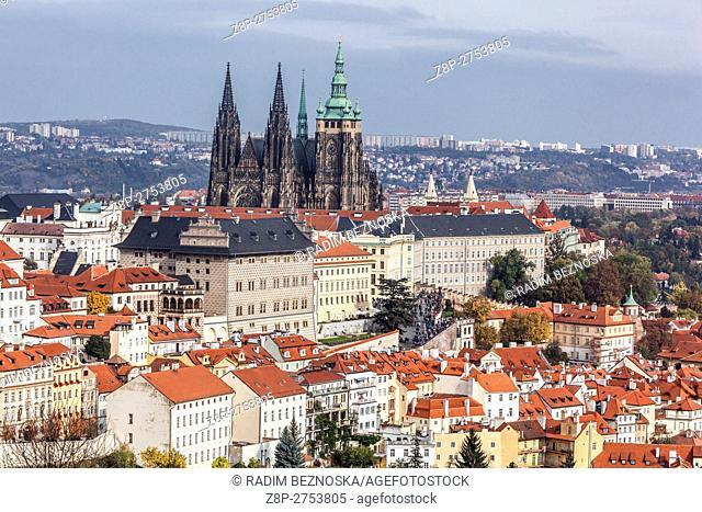 Czech Republic, Prague, View of the Prague Castle from Petrin hill
