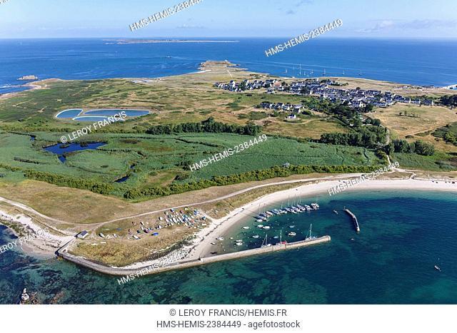 France, Morbihan, Hoedic, port de la Croix, the village and Houat island on the horizon (aerial view)