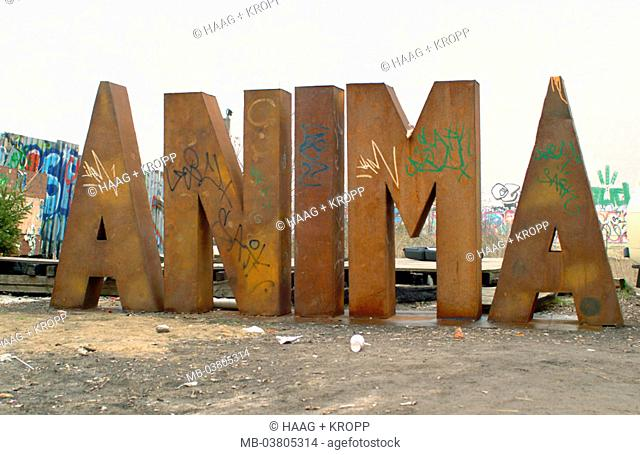 Germany, Berlin, art house turkey,   Inner courtyard, metal letters, 'ANIMA'  Europe, Central Europe, city, capital, district, sight, culture center, houses
