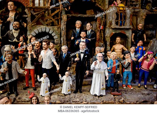 Celebrities as nativity figurines in Naples, Italy