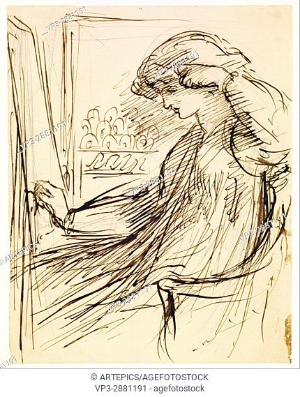 Dante Gabriel Rossetti - Woman seated at an Embroidery Frame or Easel - Birmingham Museum and Art Gallery