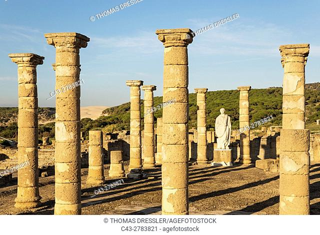 The archeological excavation site of Roman Baelo Claudia with the statue of emperor Trajano at the village of Bolonia at the Atlantic Coast