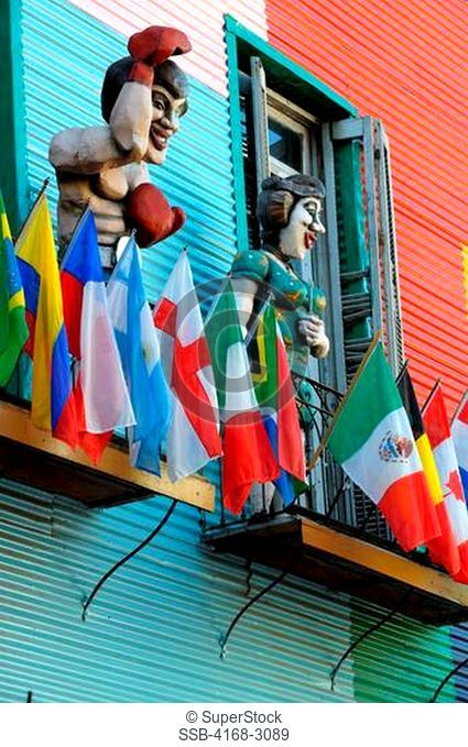 Argentina, Buenos Aires, La Boca, Colorful Houses With Figures