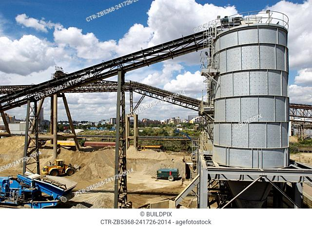 Water storage tanks at an aggregate plant, Greenwich, South-East London, UK