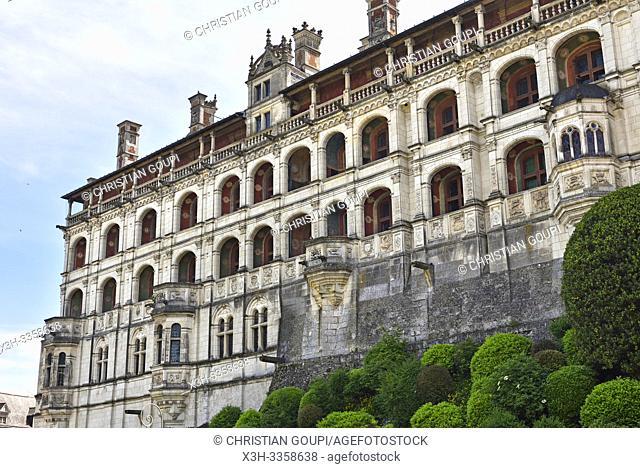 Facade des Loges de l'aile Francois Ier, de style Renaissance, du Chateau Royal de Blois, departement Loir-et-Cher, region Centre-Val de Loire, France