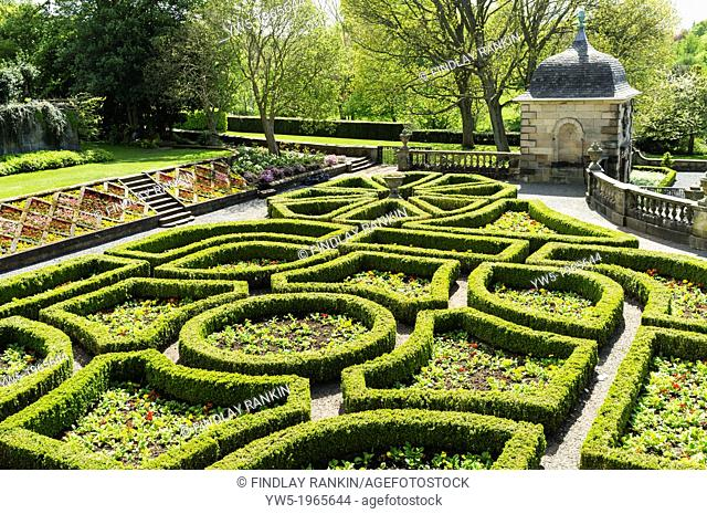 Topiary hedges in the garden of Pollok House, Glasgow, Scotland. Pollok house is an 18th century mansion, designed by William Adam
