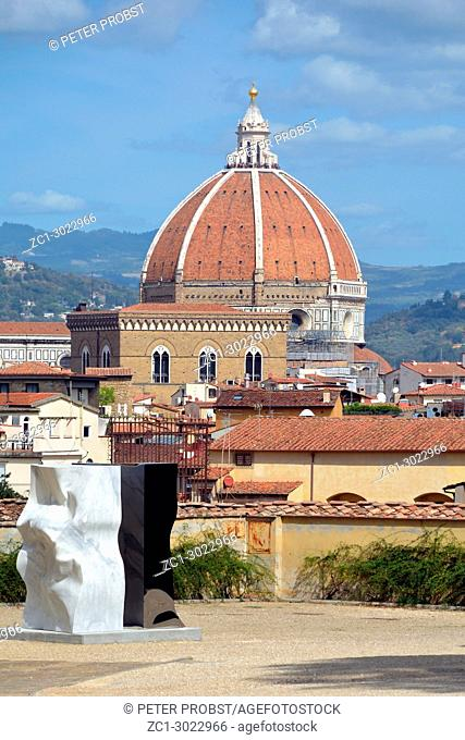 View from the Boboli Gardens to the dome of the Cathedral of Santa Maria del Fiore in Florence - Italy