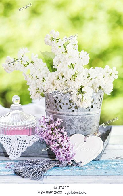 zinc pott on cornett tablet with white lilac on old wooden board, pink candels in the glass, heart and mauve lilac blossoms to the decoration
