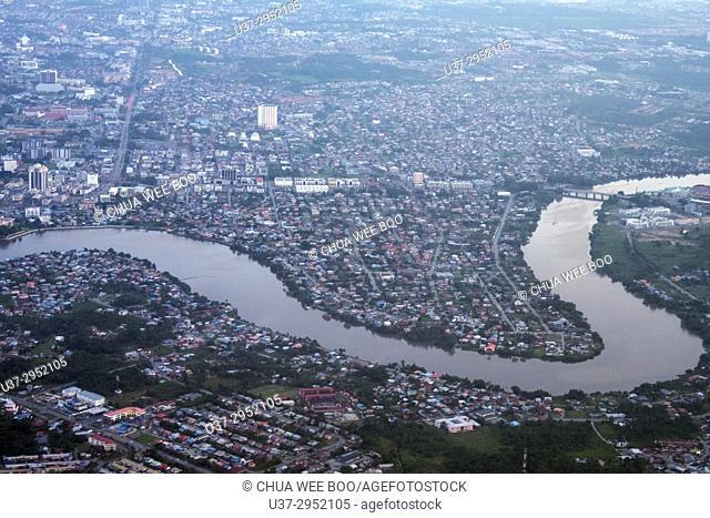 Bird's view of Kuching city and Sarawak river, Sarawak, Malaysia