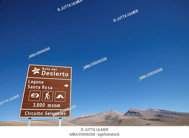 Chile, national park Nevado Tres Cruzes, Laguna Santa Rose, sign