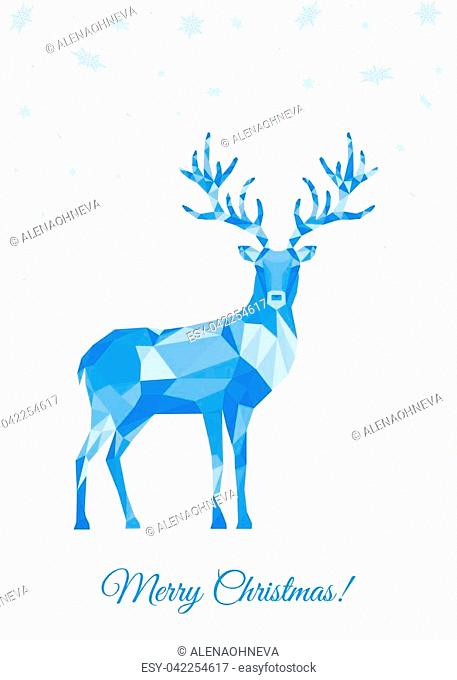 Low poly triangle deer. Christmas greeting card with blue polygon reindeer on white background. Vector illustration in origami style