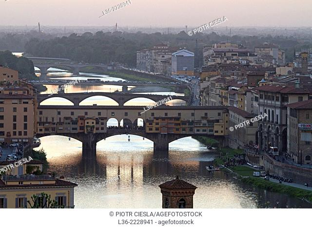 Florence, Tuscany, Italy Ponte Vecchio and the River Arno from the Piazzale Michelangelo. Spring evening