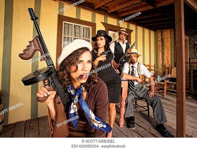 Tough Smoking Woman with Submachine Gun